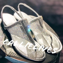 Load image into Gallery viewer, Callie RHINESTONE Sandal Diamond Silver Thong - callielives