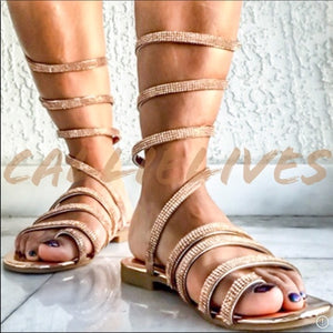Bling Sandals Gladiator Wrap Rose Gold