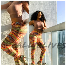 Load image into Gallery viewer, Stasia Tribe: Orange Ethnic African Leggings - callielives