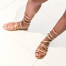 Load image into Gallery viewer, Bling Sandals Gladiator Wrap Rose Gold - callielives