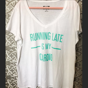 Callie Running Late Cardio Plus Size VNeck Tee - callielives
