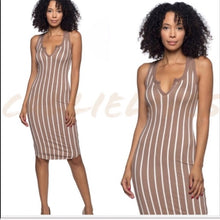 Load image into Gallery viewer, Callie PinStripe Racerback Dress VNeck Midi