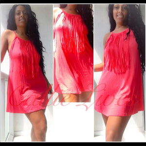 Coral Pink Fringe Loose Swing Mini Dress - callielives
