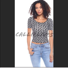 Load image into Gallery viewer, Stasia Polka Heart: Stretch Dotted Crop Top
