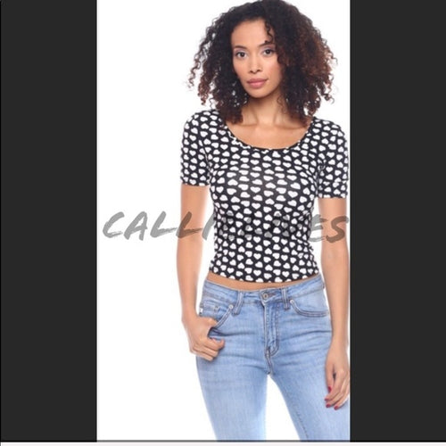 Polka Heart Dot Crop Top Stretch CALLIELIVES