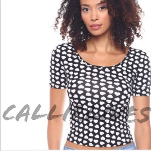 Stasia Polka Heart: Stretch Dotted Crop Top