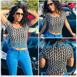 Stasia Polka Heart: Stretch Dotted Crop Top - callielives