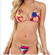 Load image into Gallery viewer, Callie String Ankara: Gold Foil African Print Side Tie Bikini - callielives