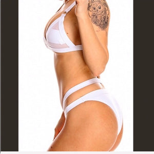 Xena White Swim Party: Mesh Panel Strappy Bikini - callielives