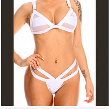 Load image into Gallery viewer, Xena White Swim Party: Mesh Panel Strappy Bikini - callielives