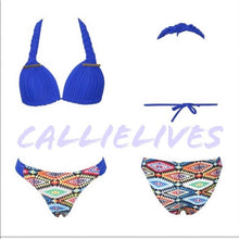 Load image into Gallery viewer, Braided Teeca Halter Bikini Aztec Blue CALLIELIVES