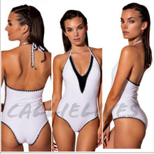 Load image into Gallery viewer, Callie Plus in Stitches: White One Piece Swimsuit - callielives