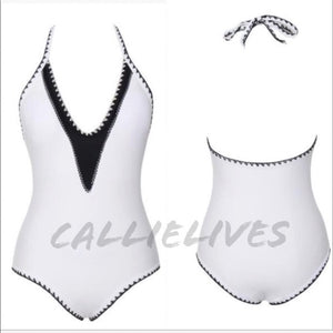 Callie Plus in Stitches: White One Piece Swimsuit - callielives