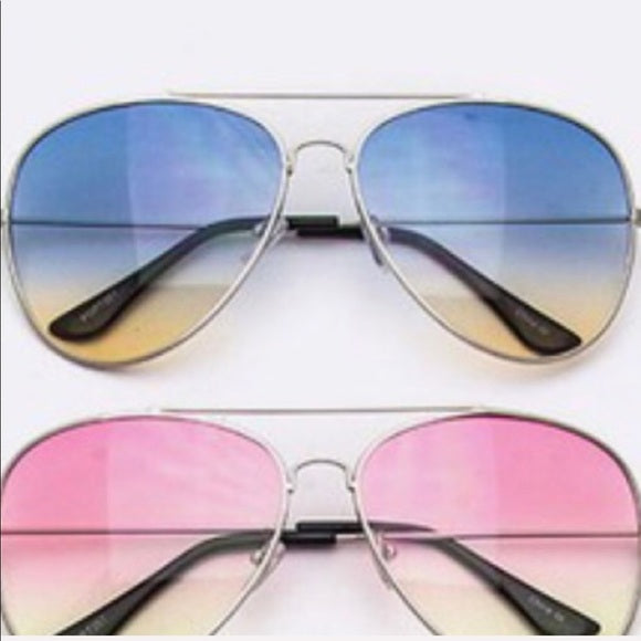 Silver Aviator Shades Blue Tan Ombré CALLIELIVES