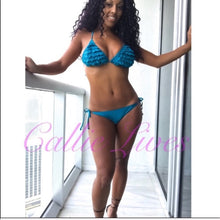 Load image into Gallery viewer, Callie Teal Heart: Blue String Bikini