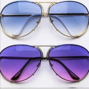 Gold OVERSIZED Aviators Blue Ombré CALLIELIVES - callielives