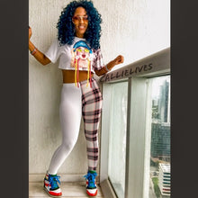 Load image into Gallery viewer, Stasia: Blue Hair Specs Crop Top Plaid Legging SET - callielives