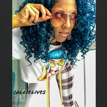 Load image into Gallery viewer, Stasia: Blue Hair Specs Crop Top Plaid Legging SET