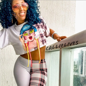 Stasia: Blue Hair Specs Crop Top Plaid Legging SET - callielives
