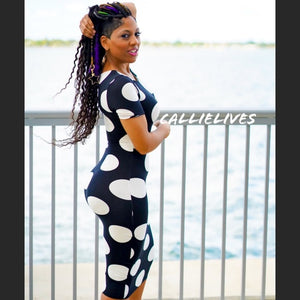 CALLIE: Black White Polka Dot Bodycon Midi Dress - callielives