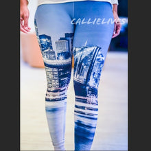 Load image into Gallery viewer, Callie: Winter CityScape 3D Graphic Blue leggings