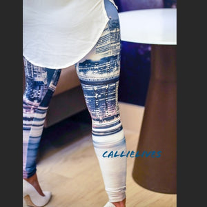 Callie: Winter CityScape 3D Graphic Blue leggings