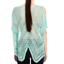 Load image into Gallery viewer, CALLIE: Minty Sequin Lurex Cold Shoulder Sweater - callielives