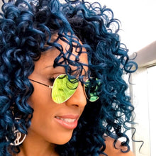 Load image into Gallery viewer, Stasia Shady Aviator: Lemon Lime Mirror Lens Gold Frame Shades