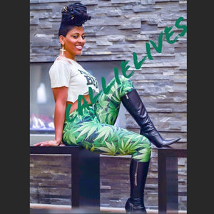 Stasia: Green Ting Smoke Plant leggings 3D Graphic - callielives