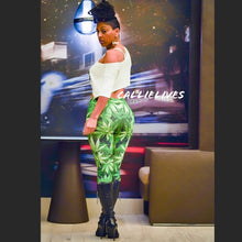 Load image into Gallery viewer, Stasia: Green Ting Smoke Plant leggings 3D Graphic - callielives