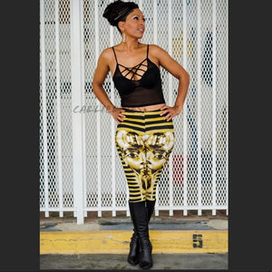 Xena: Black Gold Egypt Tut Graphic Print Leggings