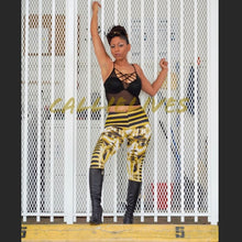 Load image into Gallery viewer, Xena: Black Gold Egypt Tut Graphic Print Leggings