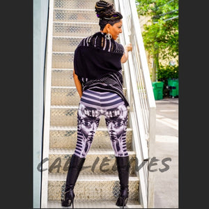 Xena Black Silver Egypt Tut Graphic Print Leggings