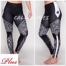 Load image into Gallery viewer, Xena Plus: Black Bandana Star 3D Graphic Leggings
