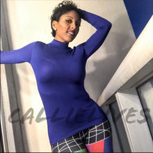Load image into Gallery viewer, Elaine: Royal Blue MOCK NECK Work Top Long Sleeve - callielives