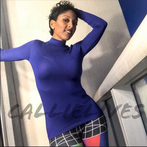 Elaine: Royal Blue MOCK NECK Work Top Long Sleeve - callielives