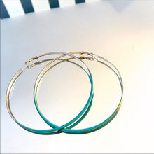 Load image into Gallery viewer, Stasia Aqua Hoops: Blue Art 80s Earrings Silver - callielives