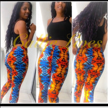 Load image into Gallery viewer, Callie Wakanda Tribe: African Leggings Blue Orange