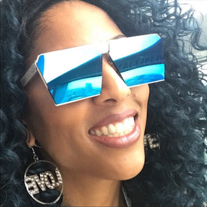 Xena OnMy SQUARE: OVERSIZED AQUA BLUE Sunglasses