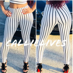 Xena PinStripe Crop Top Illusion Legging SET