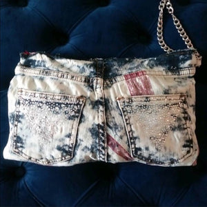 Stasia British Jean Bling: Denim Rhinestone Clutch - callielives