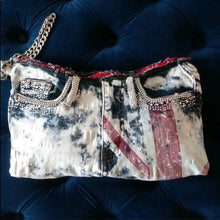 Load image into Gallery viewer, Stasia British Jean Bling: Denim Rhinestone Clutch - callielives