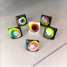 Load image into Gallery viewer, Callie White Art: Ceramic Style Painted Dot Ring