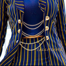 Load image into Gallery viewer, Callie Golden Navy: Blue Pinstripe 2-PC Short Suit, Sets, CallieLives