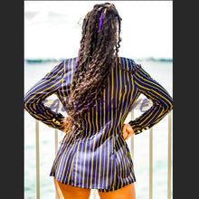Load image into Gallery viewer, Callie Golden Navy: Blue Pinstripe 2-PC Short Suit