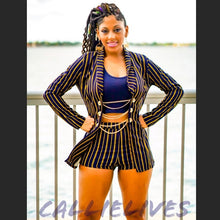 Load image into Gallery viewer, Callie Golden Navy: Blue Pinstripe 2-PC Short Suit - callielives