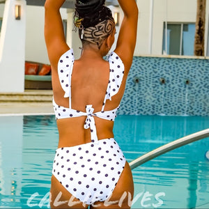 Stasia Dalmatian: White Polka Dot Pin-Up Bikini LG - callielives