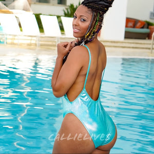 Stasia: Minty Aqua Retro Glitter High Cut One Piece Swimsuit - callielives
