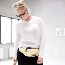 Load image into Gallery viewer, GOLD CROCODILE EMBELLISHED Faux Leather Fanny Pack - callielives