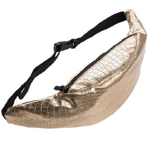 GOLD CROCODILE EMBELLISHED Faux Leather Fanny Pack - callielives